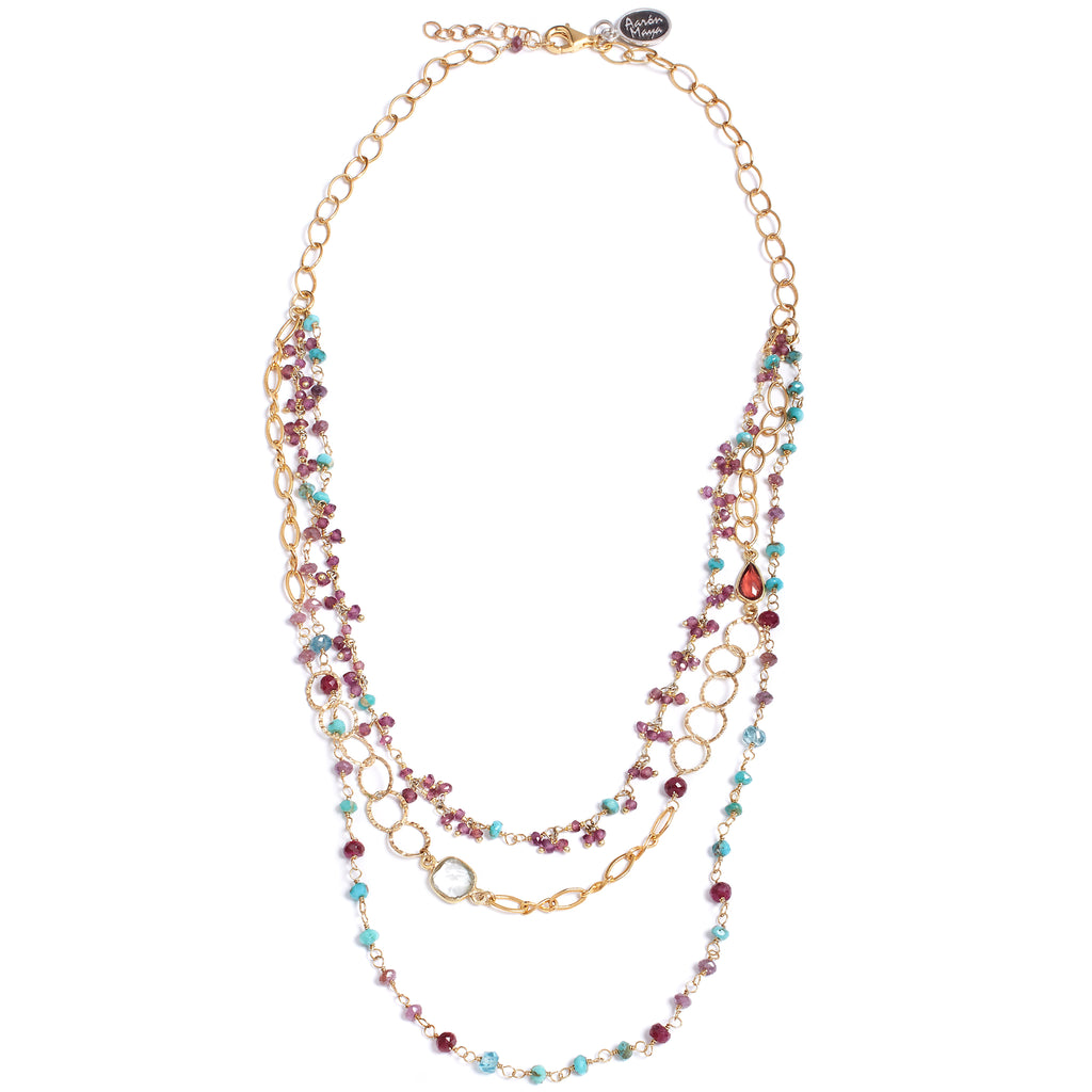 Multi-row necklace, ruby turquoise