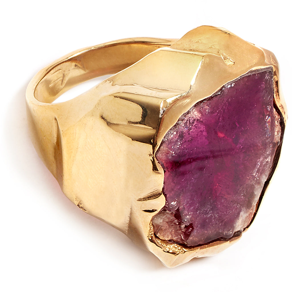 Gold and pink tourmaline ring