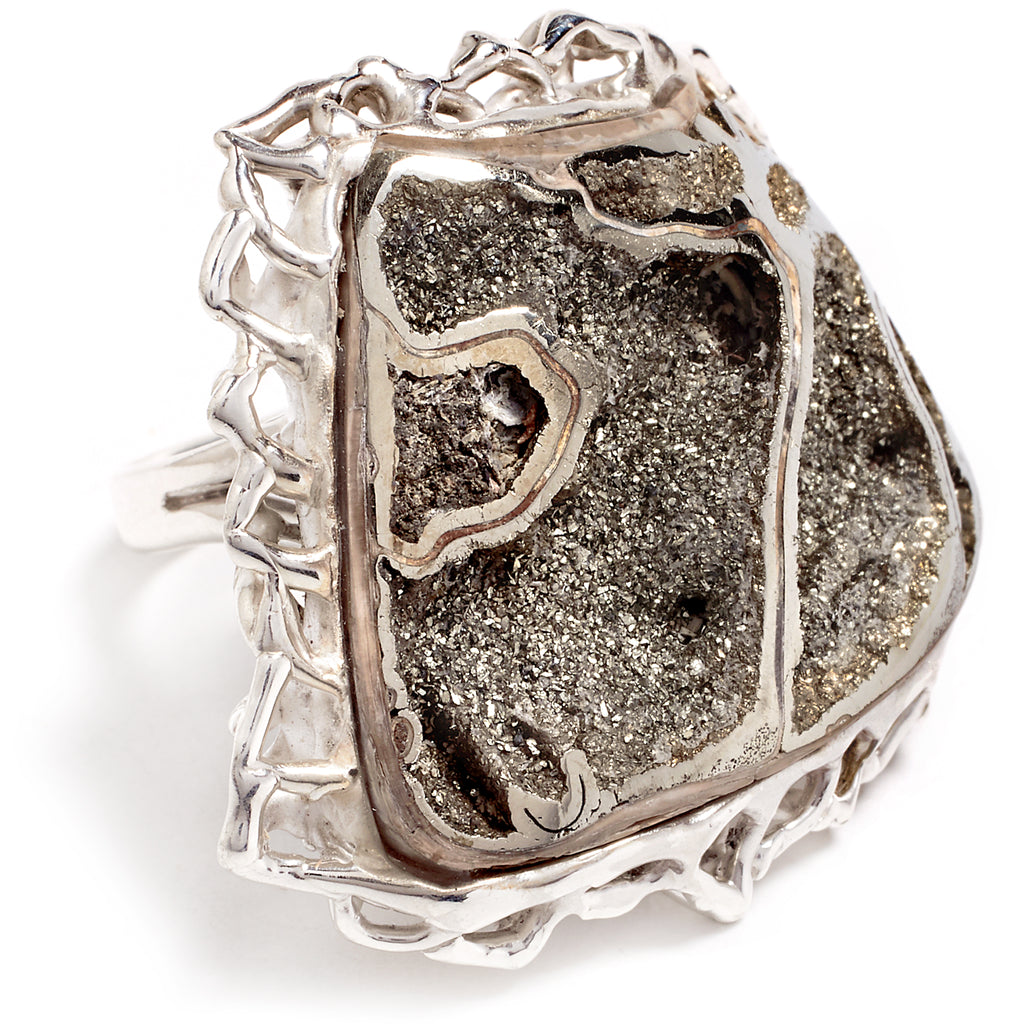 Silver ring and pyrite druse
