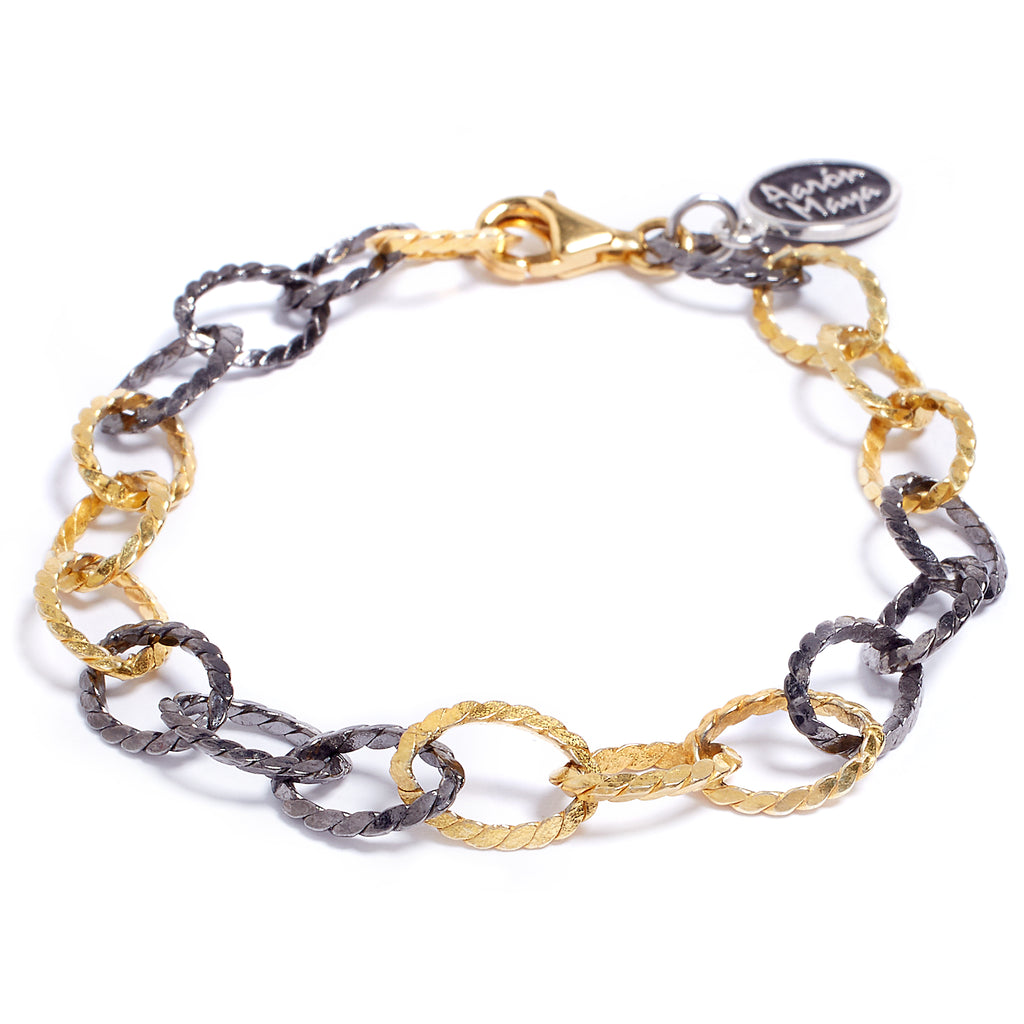 Gold and oxidized bracelet