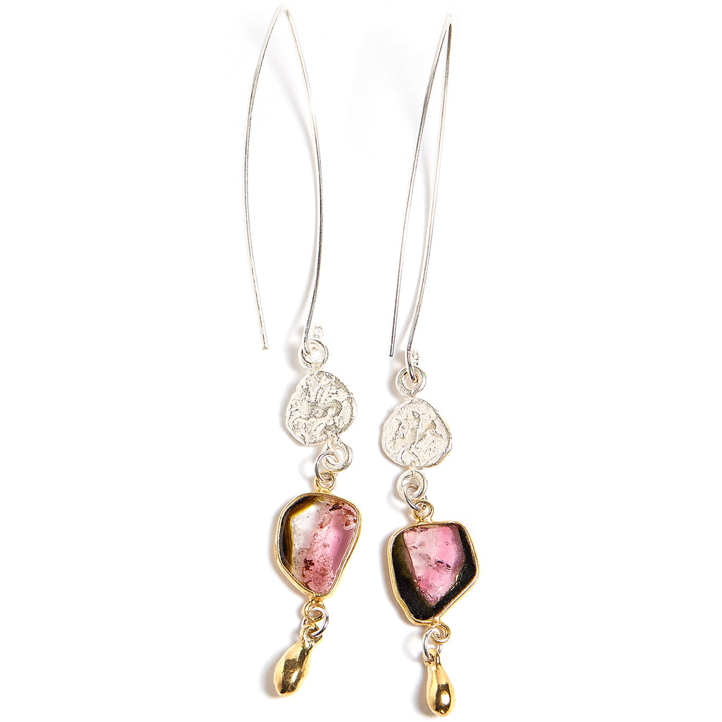 Dangle pegasus and tourmaline earrings
