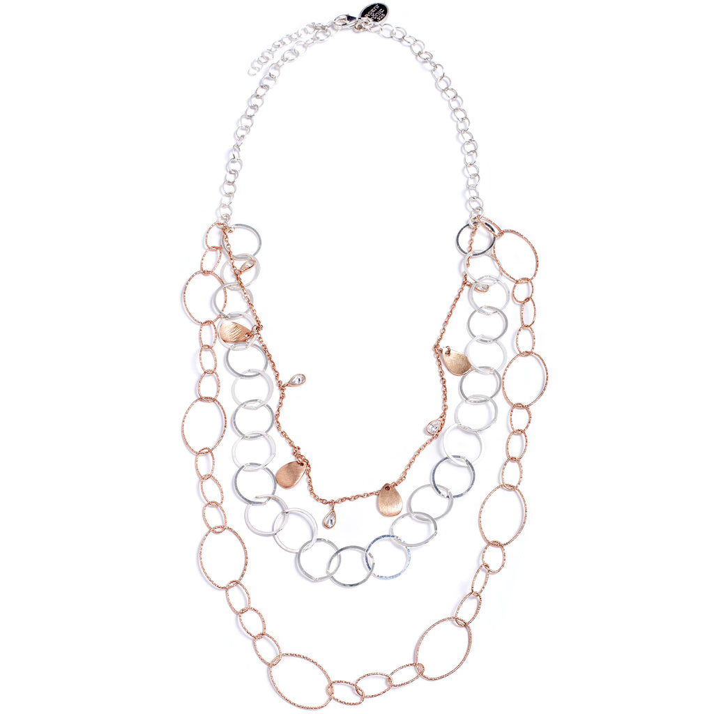 Silver and pink multi-row necklace