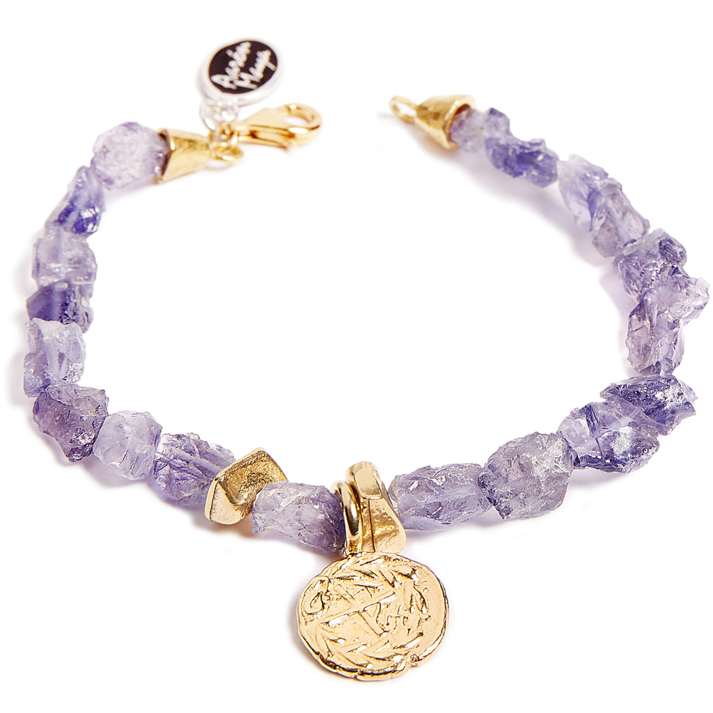 Purple tanzanite and gold plated coin bracelet