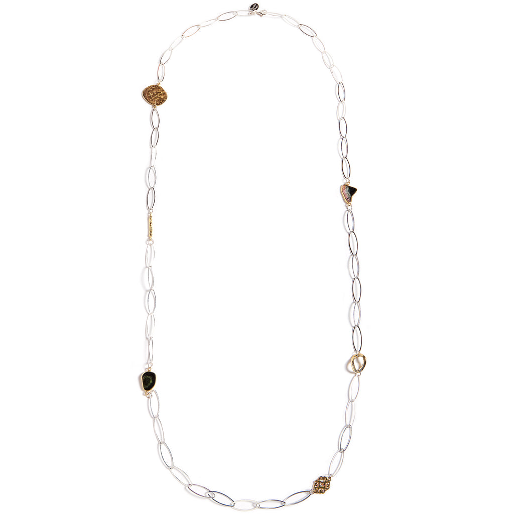 Sterling silver chain with natural stones and gold plated pieces