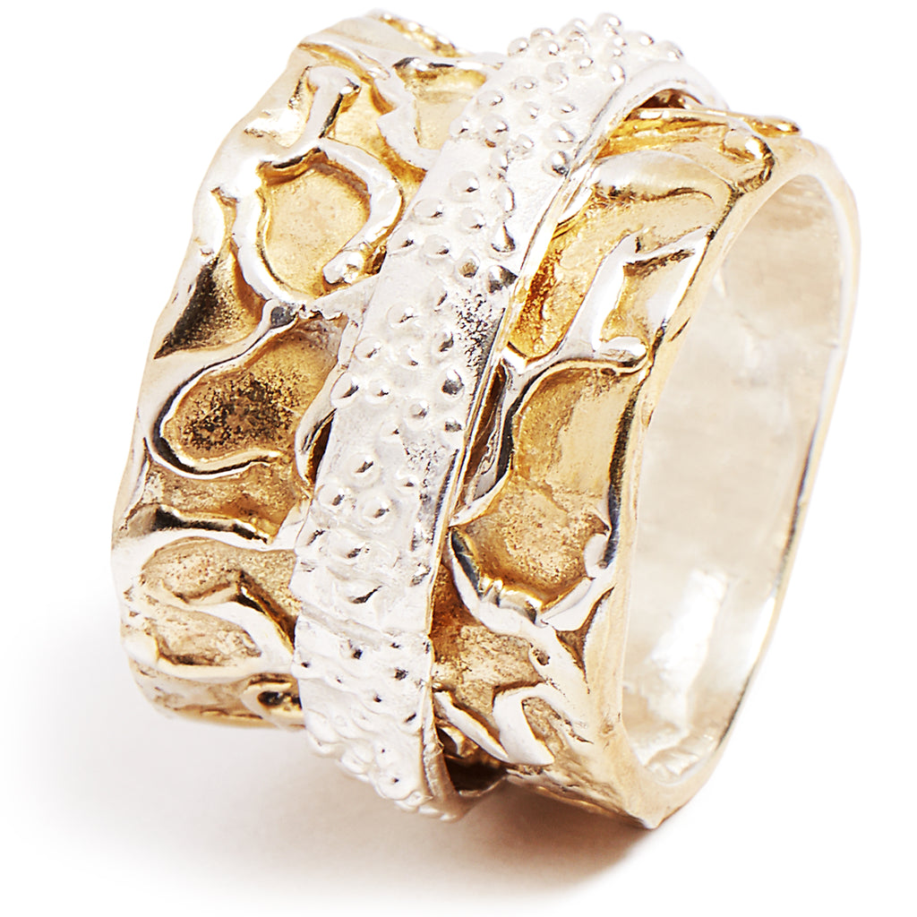 Gold and sterling silver spinner ring
