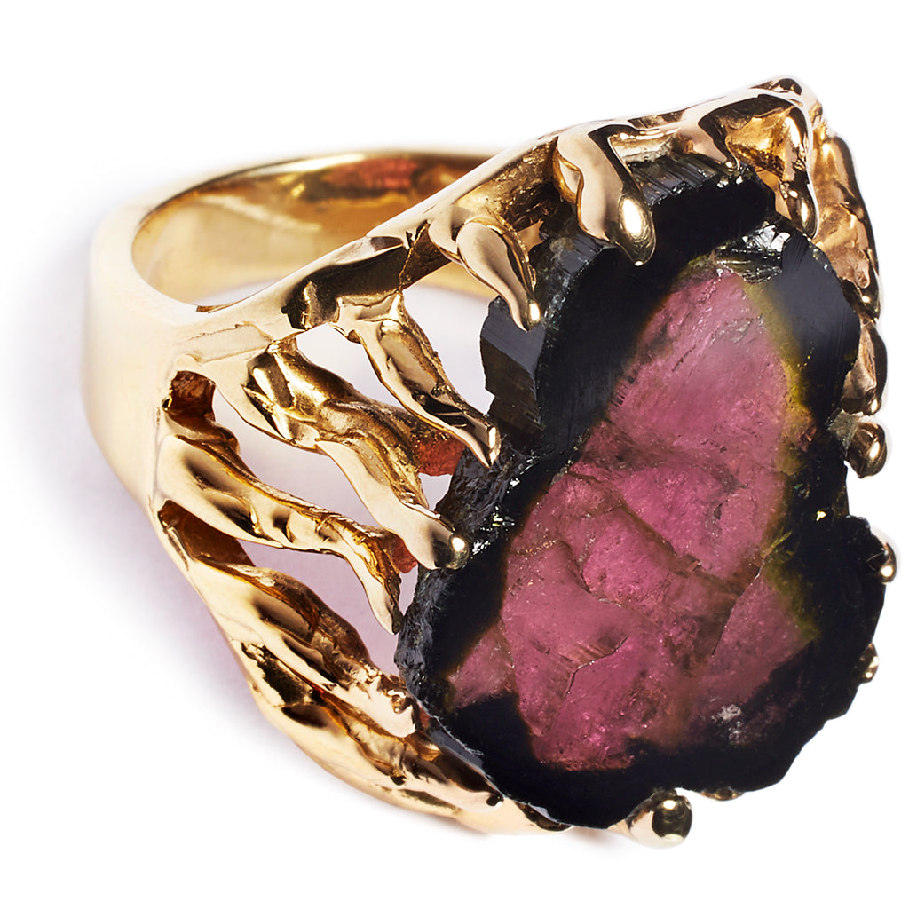 Tourmaline ring, sterling silver, 24 caret gold plated