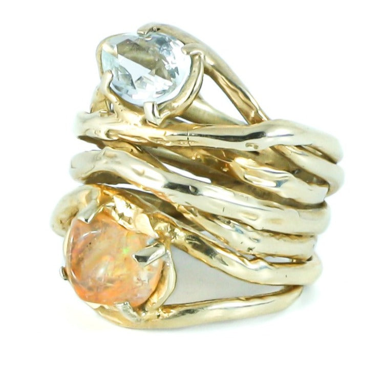 Golden aquamarine and fire opal ring