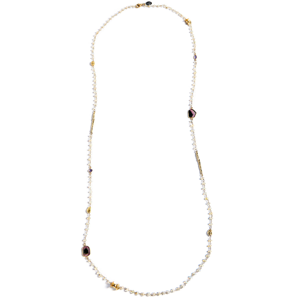 Opal bead chain with gold plated pieces and natural stones
