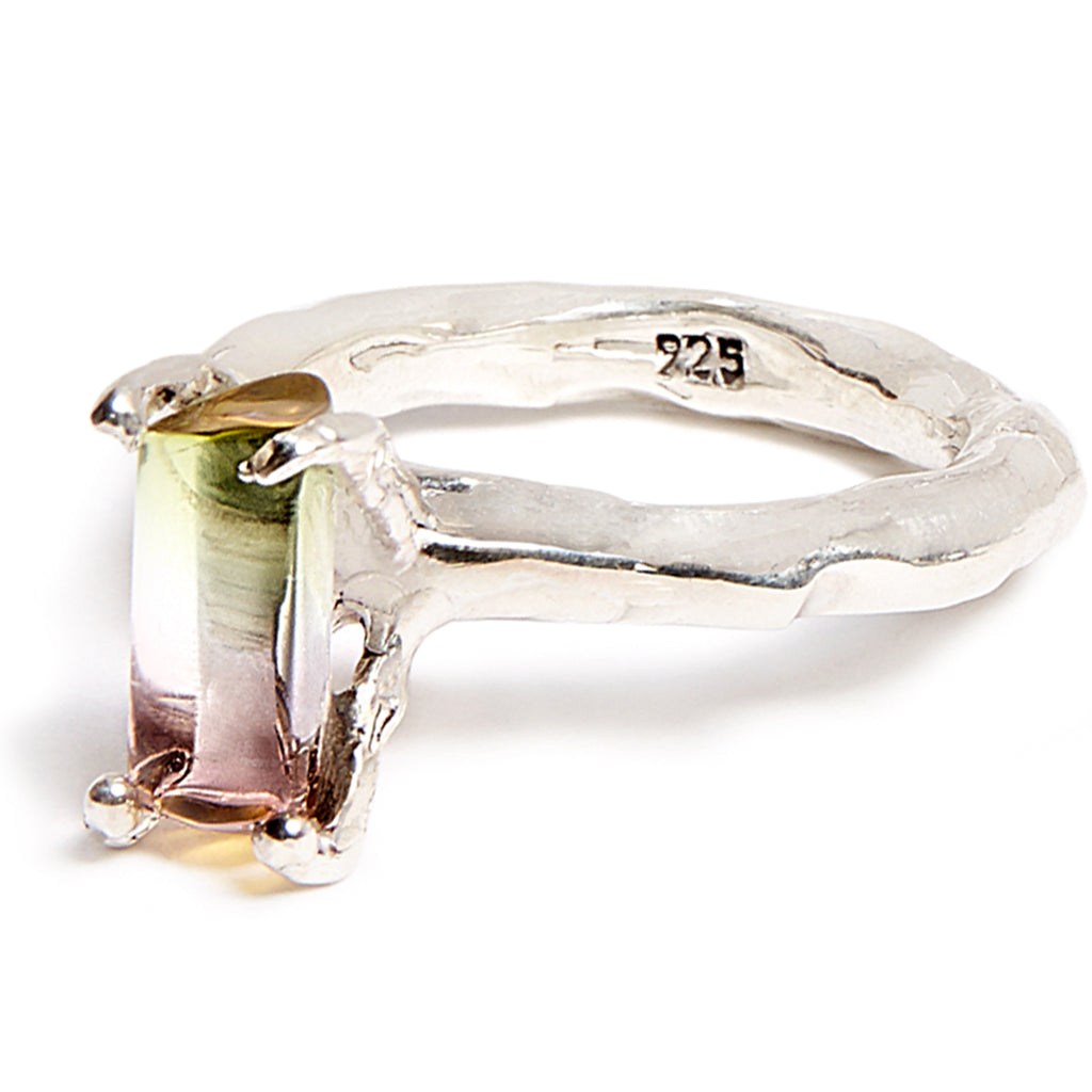 Sterling silver bicolour baguette tourmaline ring