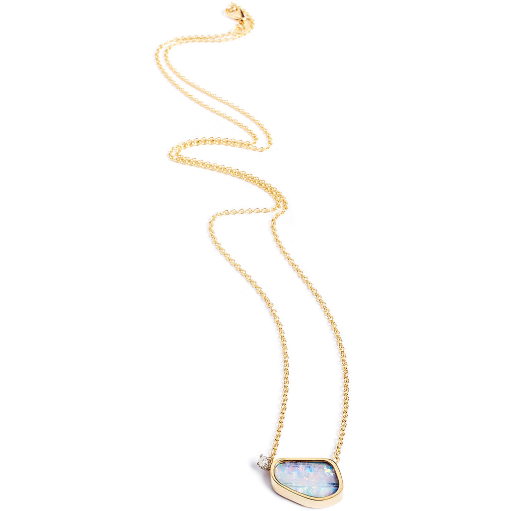 Gold chain necklace with Australian opal and diamond, 18k