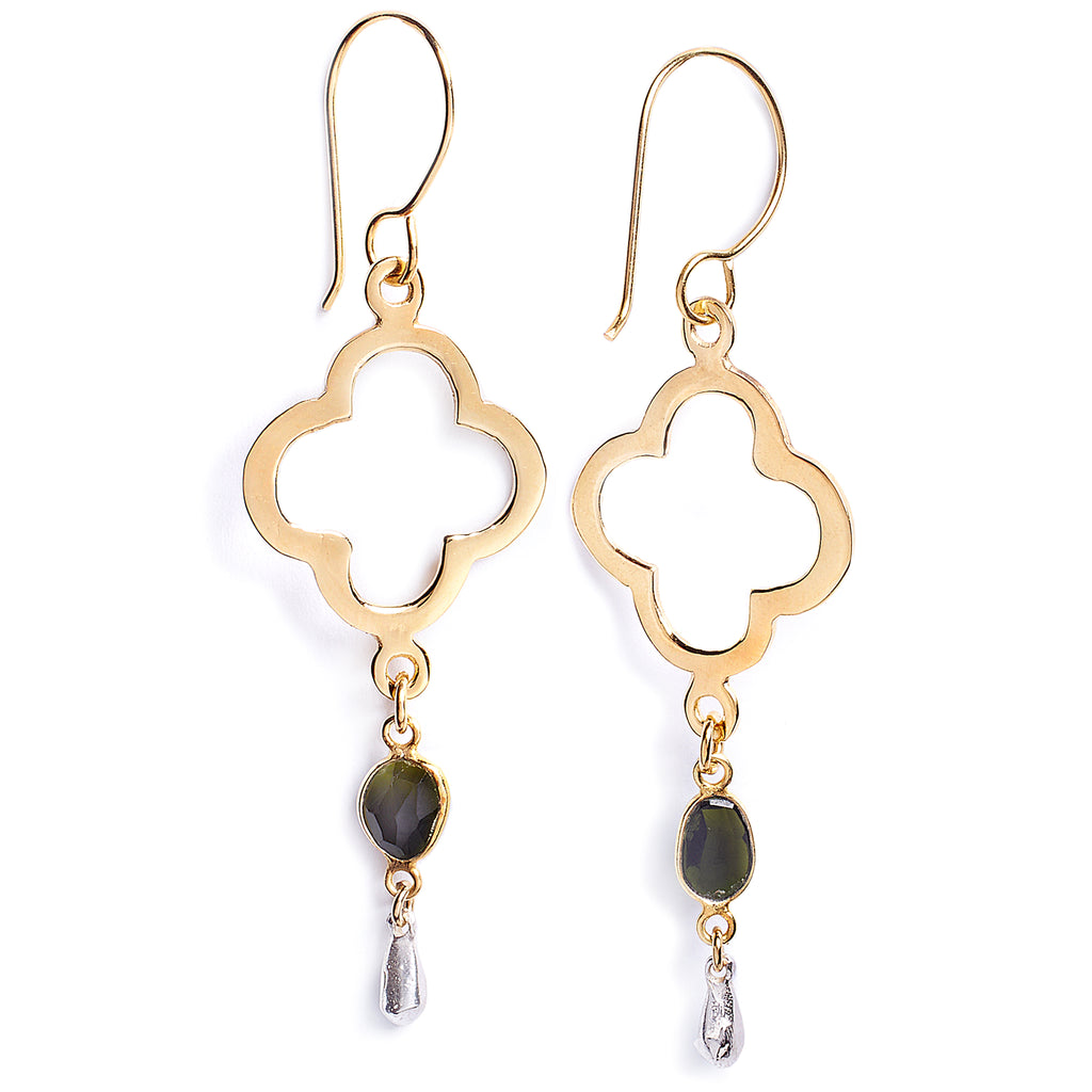 Gold-plated and tourmaline silver earrings