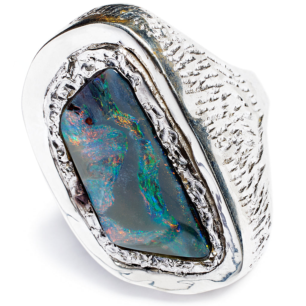 Tanzanite opal statement ring, sterling silver