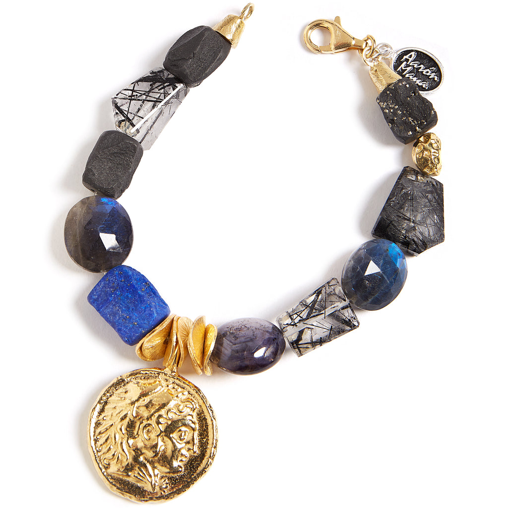 Brilliant blue mulit stone bracelet with coin