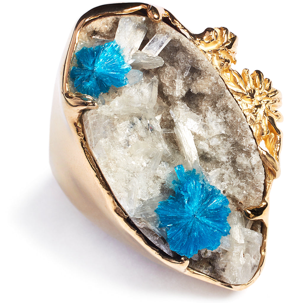 Cavansite statement ring, sterling silver 24 caret gold plated