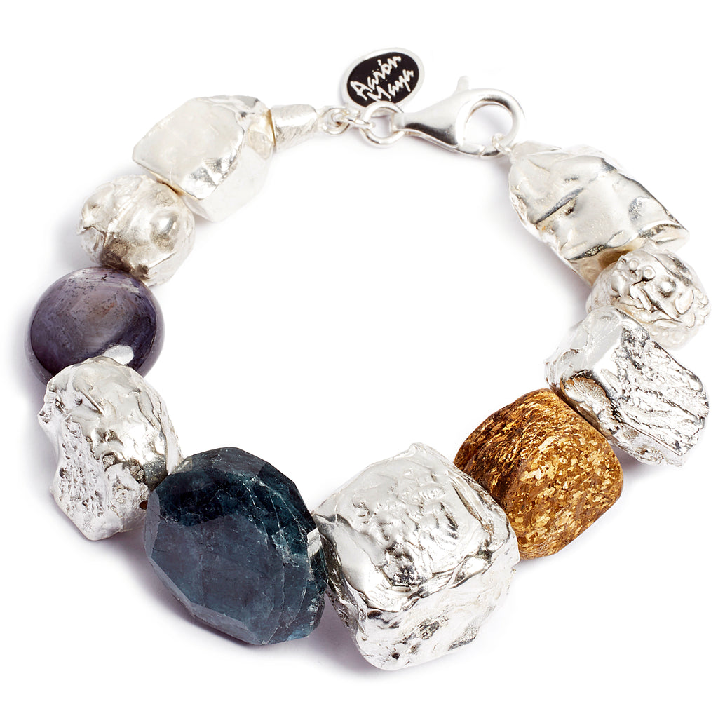 Chunky silver and stone bracelet