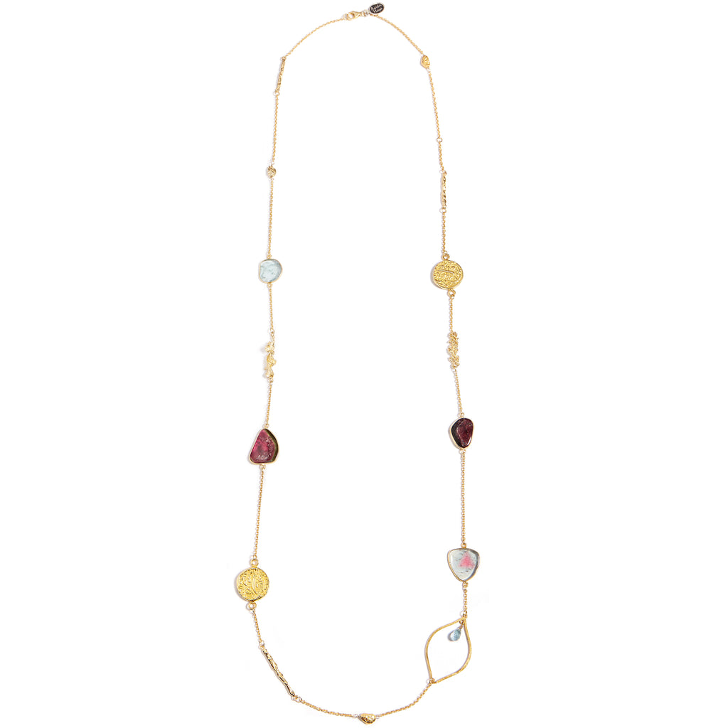 Gold filled chain with tourmaline, aqua marine and antique coins
