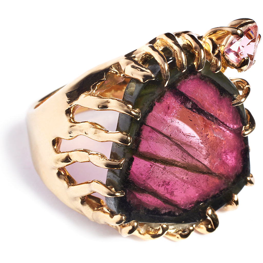 Tourmaline statement ring, sterling silver 24 caret gold plated