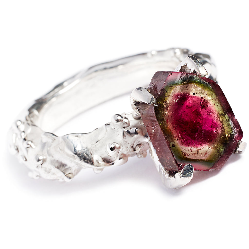 Watermelon tourmaline, sterling silver ring