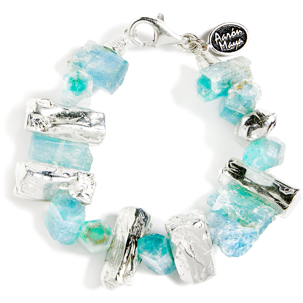Cut faceted aquamarine and moonstone bracelet
