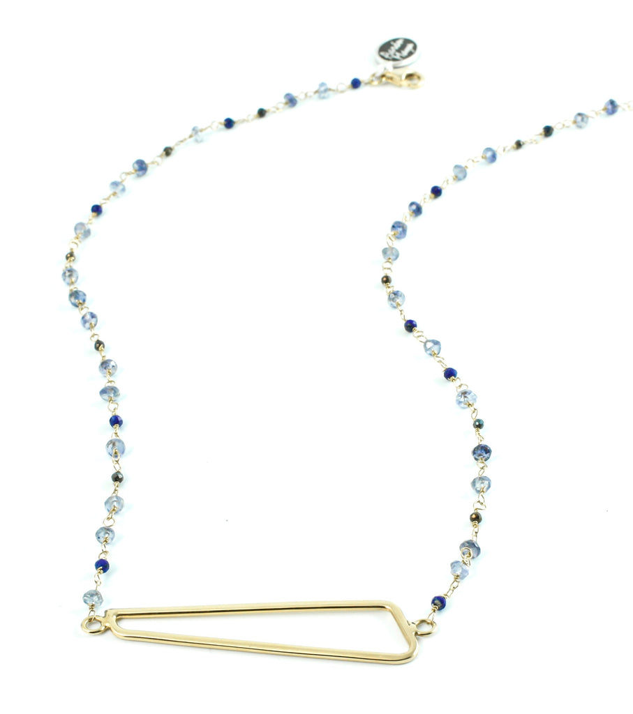 Geometric necklace and blue stones