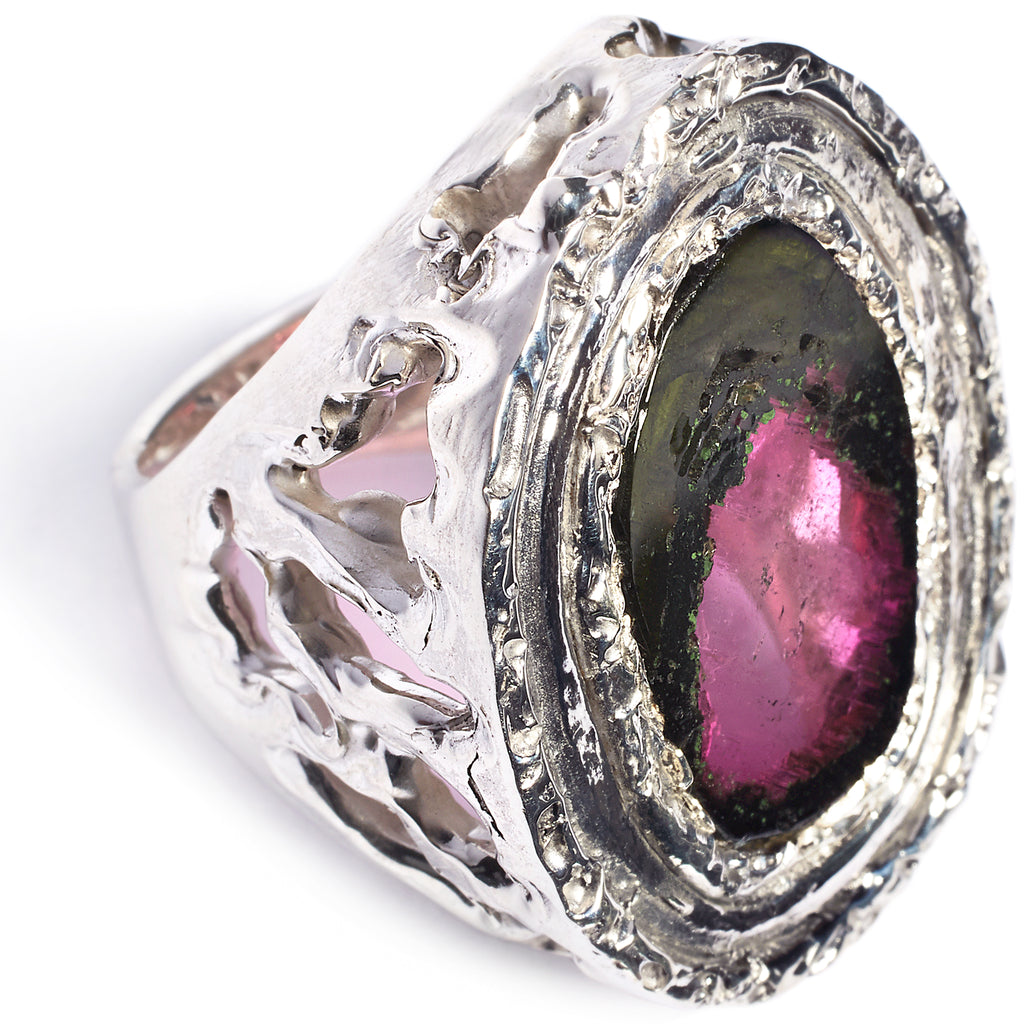 Watermelon tourmaline, sterling silver statement ring