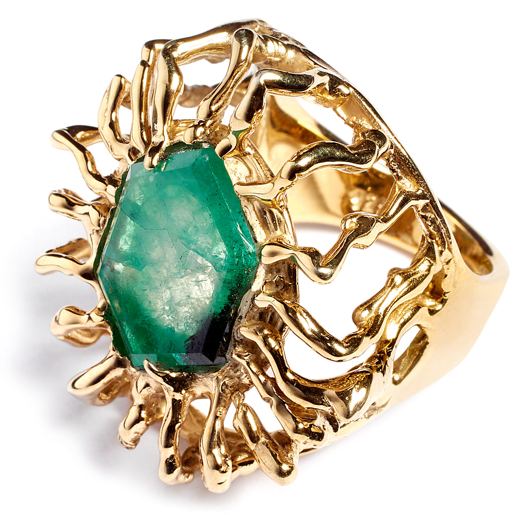 Emerald statement ring, sterling silver, 24 caret gold plated
