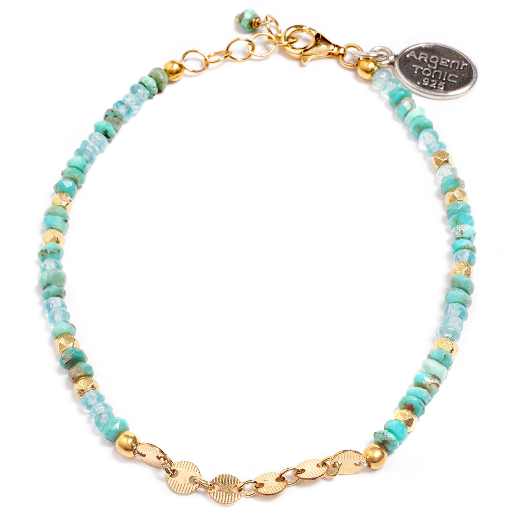 Turquoise and aquamarine bracelet
