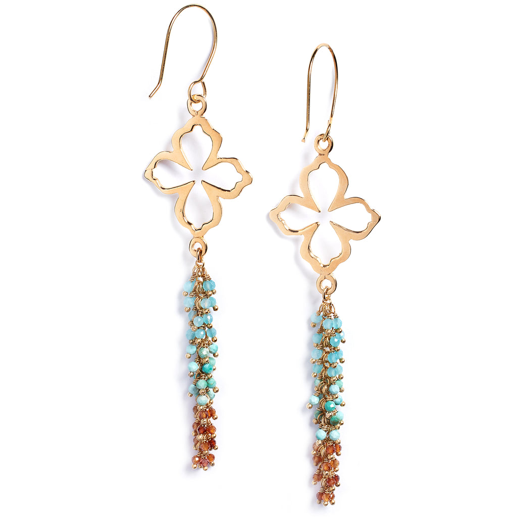 Amazonite, turquoise and hessoise earrings