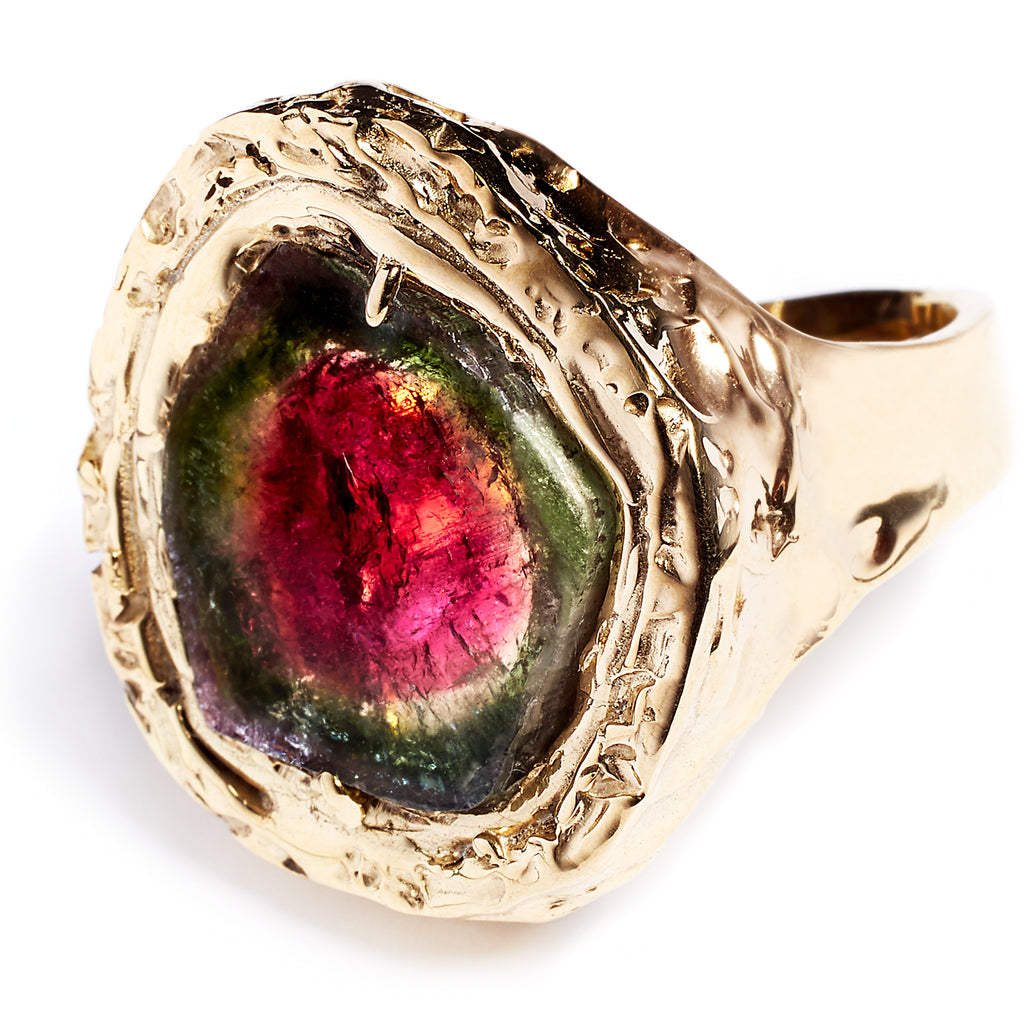 Watermelon tourmaline statement ring, sterling silver 24 caret gold plated