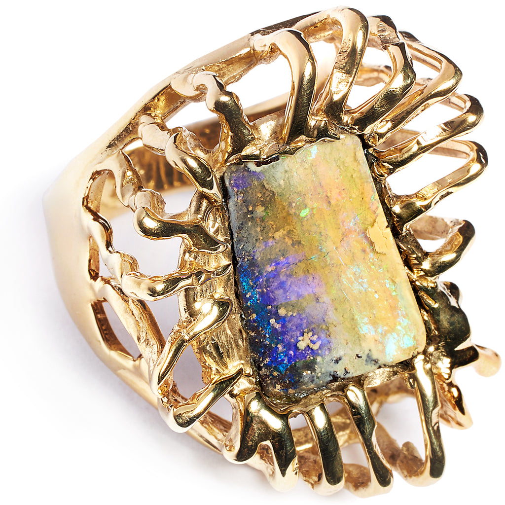 Tanzanite opal ring, sterling silver 925, gold plated 24 caret