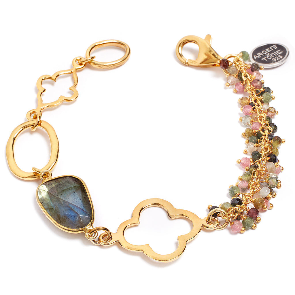 Labradorite and tourmaline bracelet