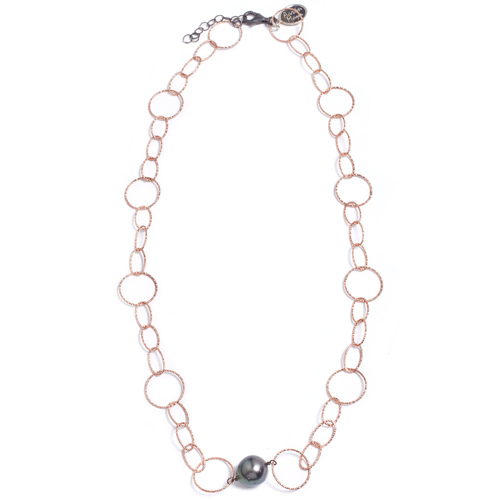 Pink silver and Tahitian pearl