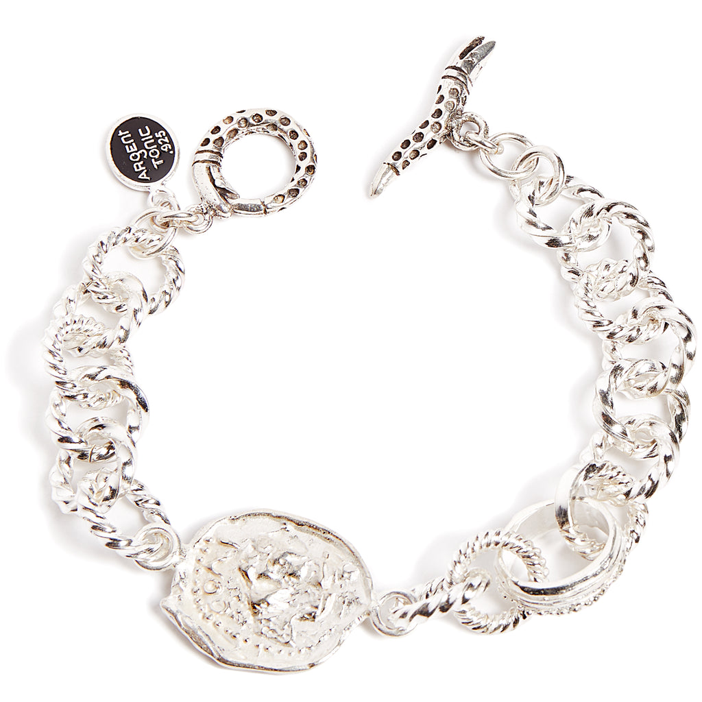 Silver chunky link bracelet with antique coin
