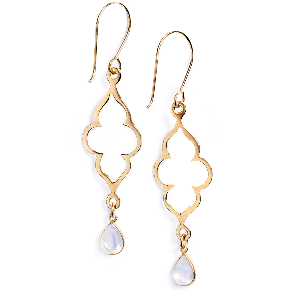 Gold-Plated Silver and Moonstone Earrings