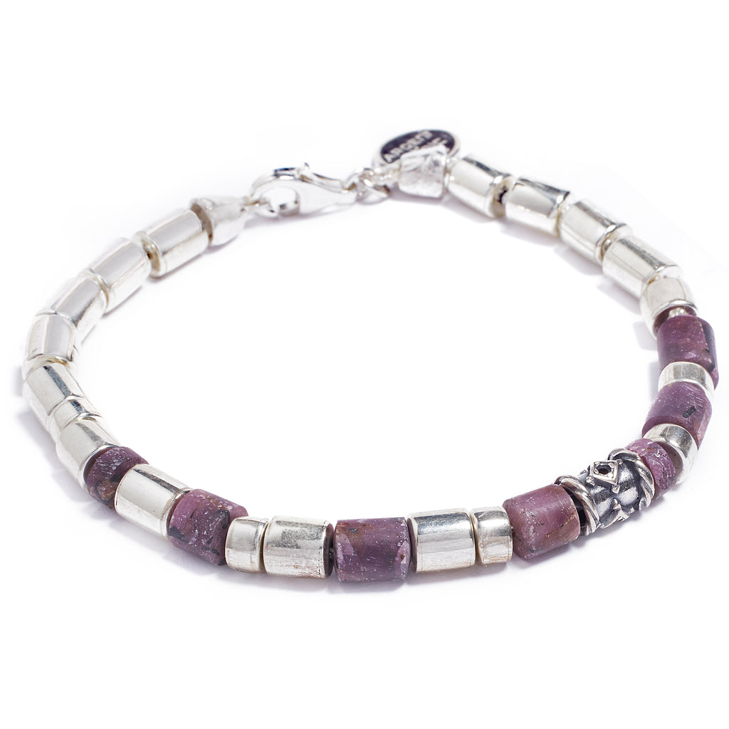 Ruby and silver bracelet