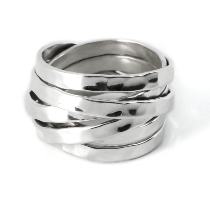 Multi-ring hammered ring