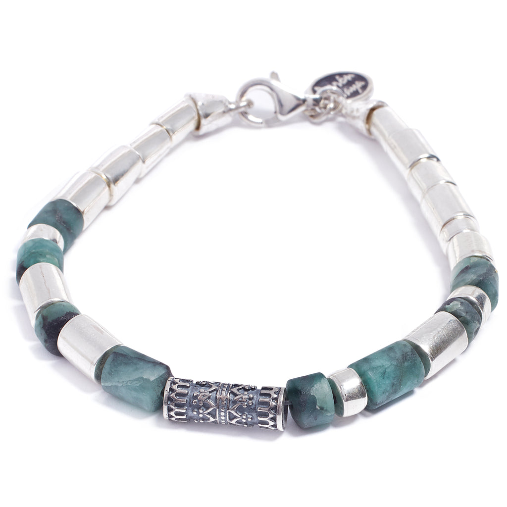 Silver and emerald bracelet