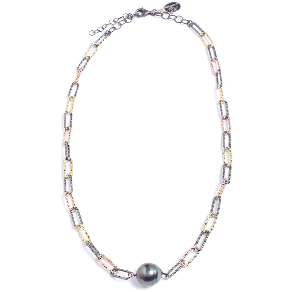 Silver necklace and Tahitian pearl