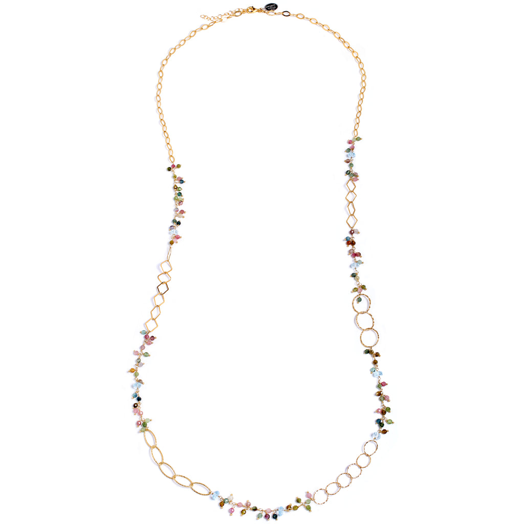 Tourmaline and topaz long necklace