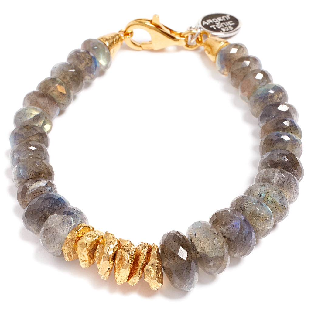 Gold-plated and labradorite silver bracelet