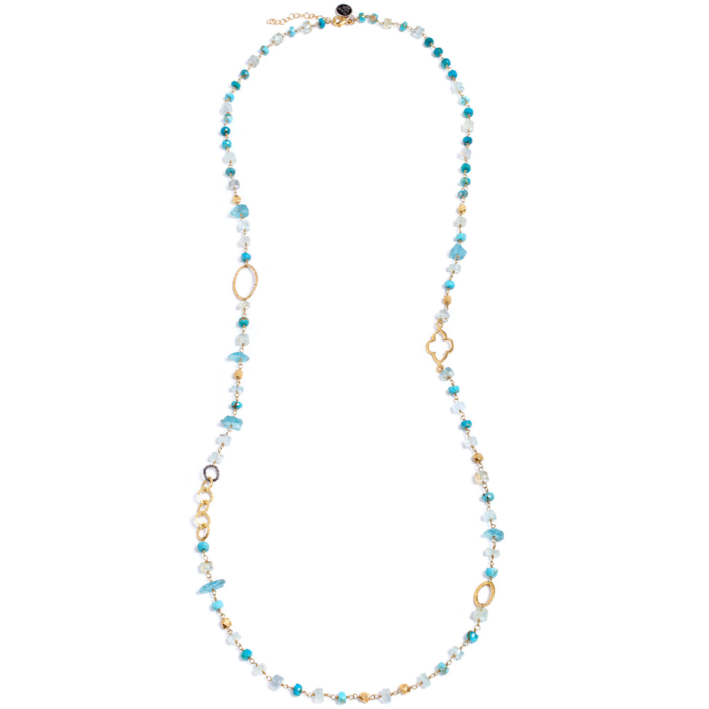Blue stones long necklace