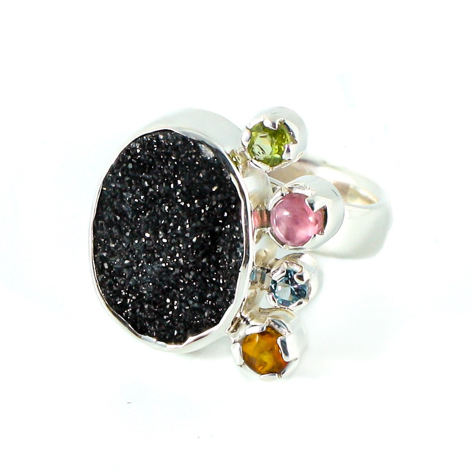 Silver ring, druse and colored stones