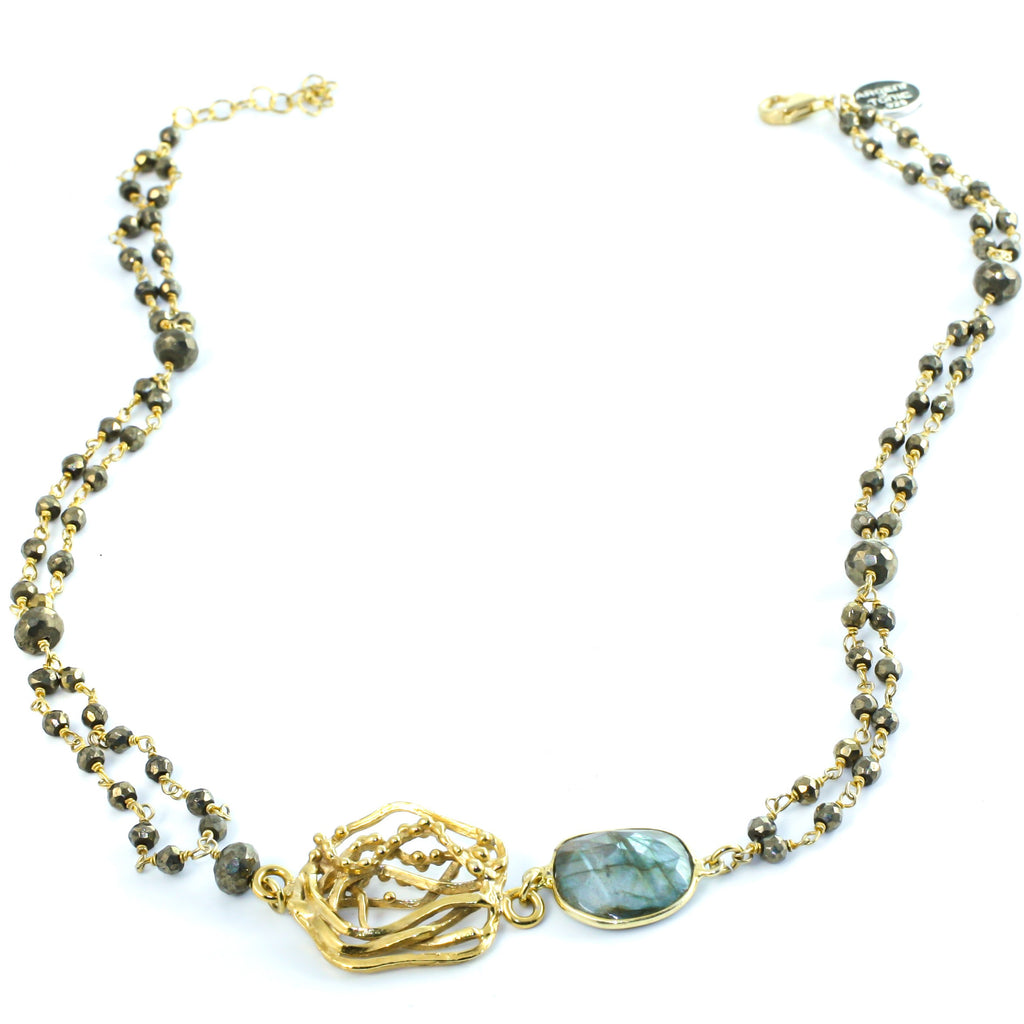 Pyrite and labradorite flower necklace