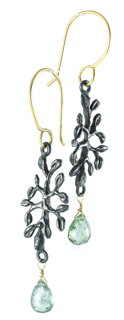Leaf and tourmaline earrings