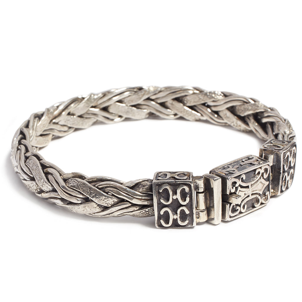 Silver braided bracelet for men