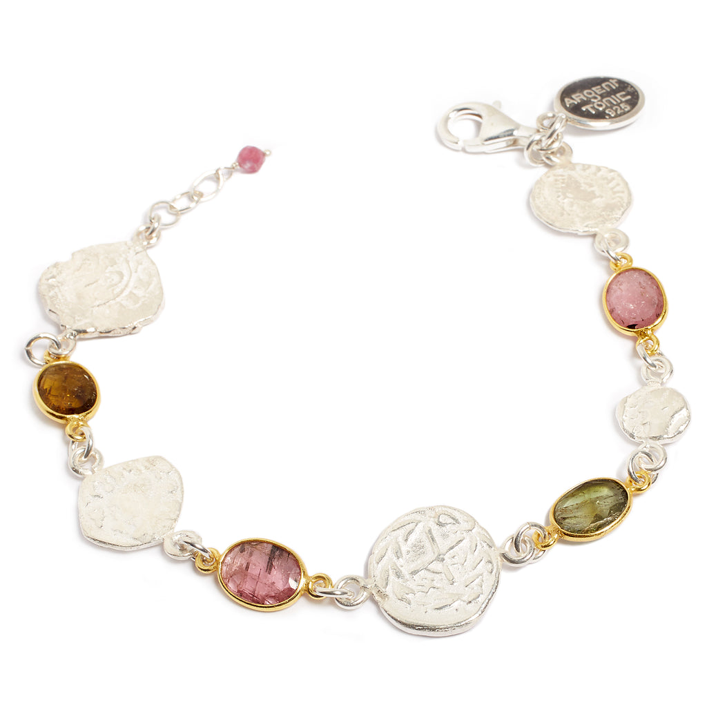 Bicolor bracelet, tourmaline and antique piece