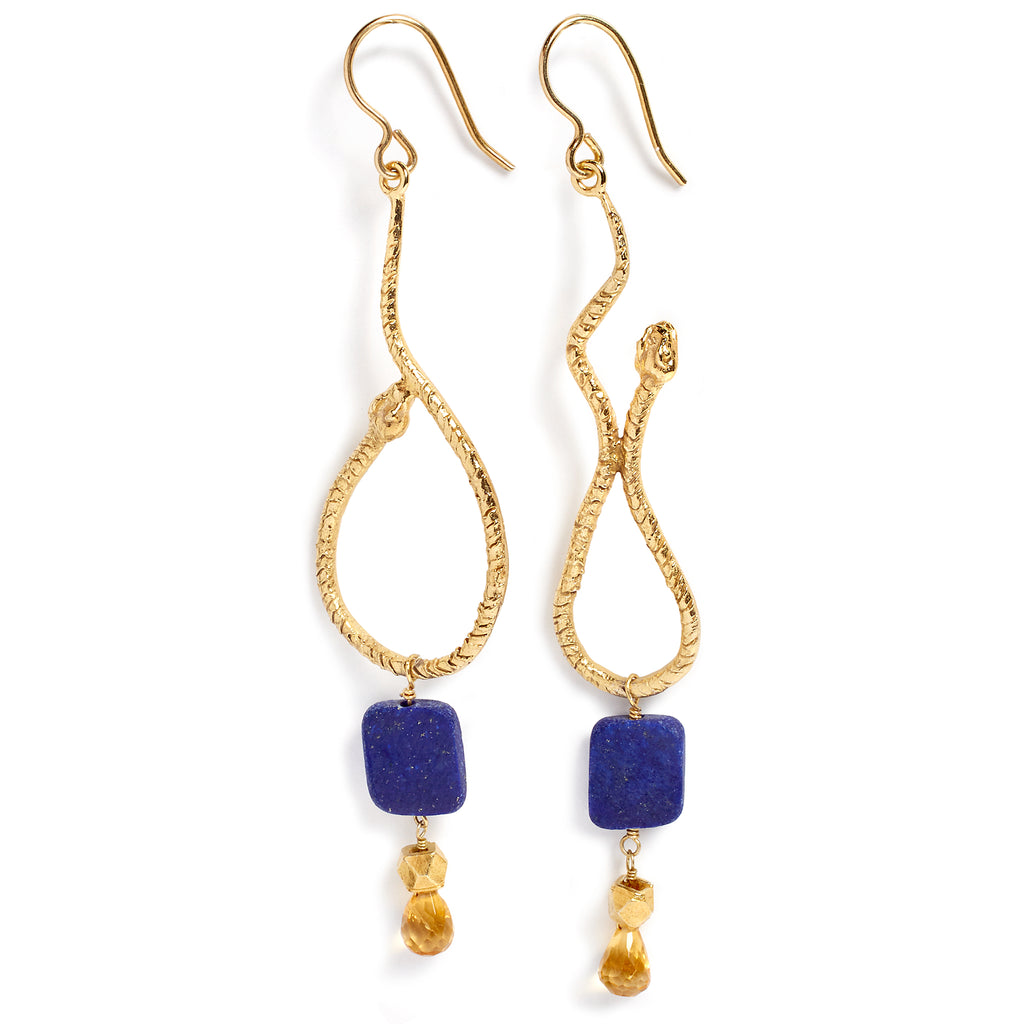 Lapis and citrine snake earrings