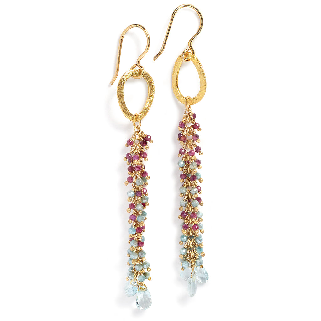 Spinel, amazonite and aquamarine earring