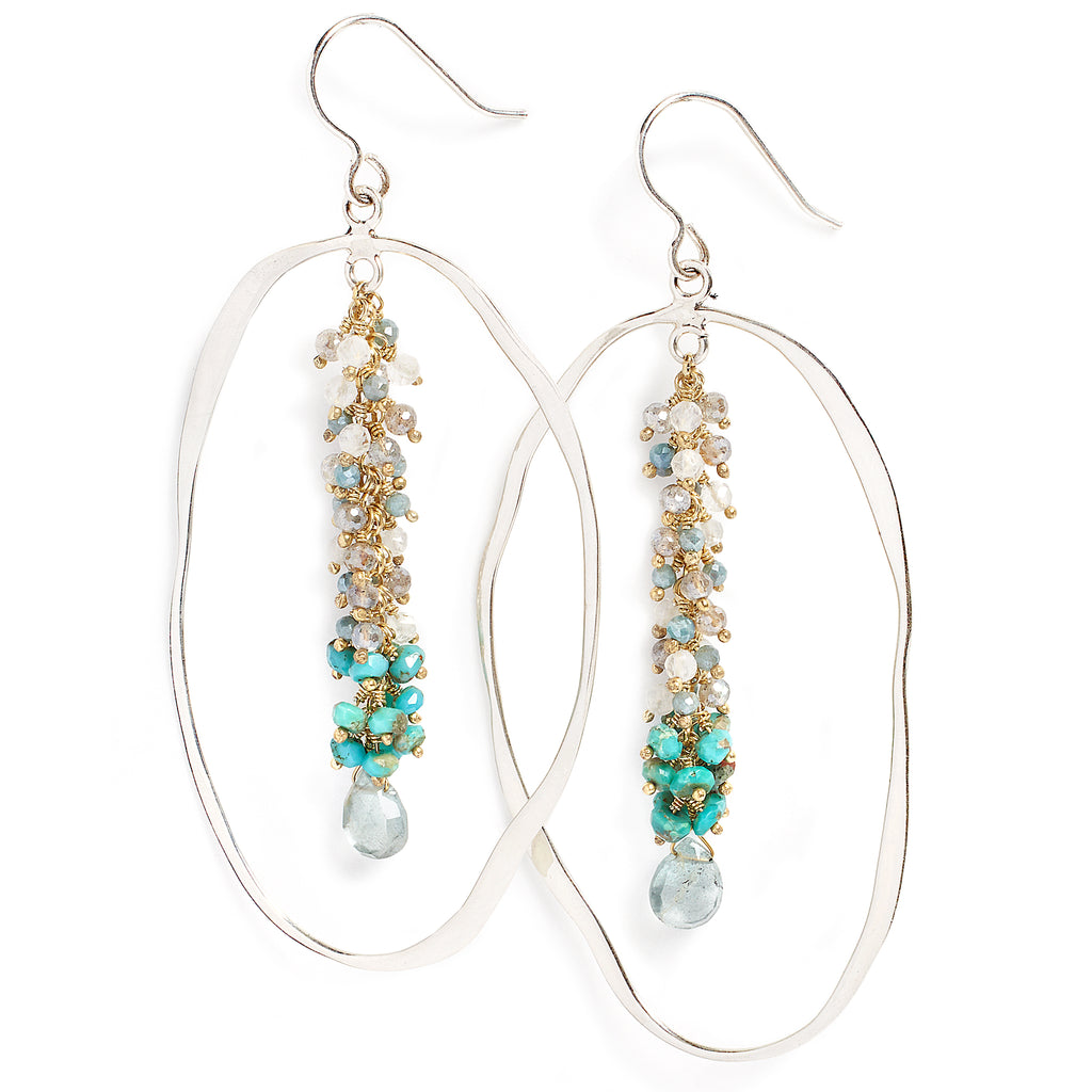 Labradorite, moonstone, amazonite earrings