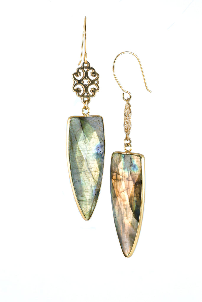 Golden and labradorite earrings